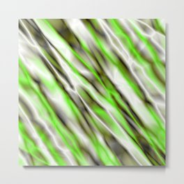 A bright cluster of green bodies on a light background. Metal Print