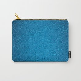 Royal Blue Tooled Leather Carry-All Pouch