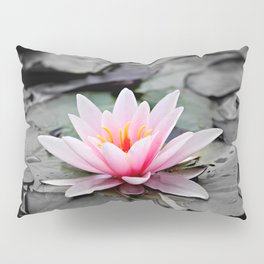 Pink Waterlily on Black Gothic Leaves. Pillow Sham