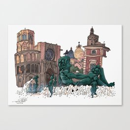 Plaza de la Virgen. Valencia Canvas Print