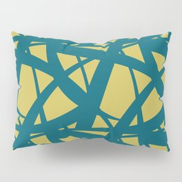 Tropical Dark Teal Abstract Mosaic Pattern 3 Inspired by Sherwin Williams 2020 Trending Color Oceanside SW6496 on Dark Yellow Pillow Sham