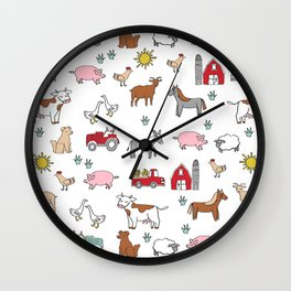 Farm animals nature sanctuary cow pig goats chickens kids gender neutral Wall Clock