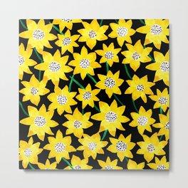 Sunflower watercolor pattern Metal Print