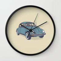 vw Wall Clocks featuring VW Beetle by Lara Trimming