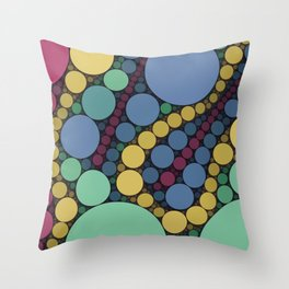 MARBLES - retro vintage colours indigo spearmint green dots abstract pattern Throw Pillow