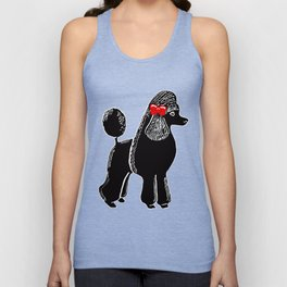 Black Standard Poodle with a Red Bow Unisex Tank Top