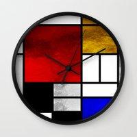 mondrian Wall Clocks featuring Luxury Mondrian by Dizzy Moments