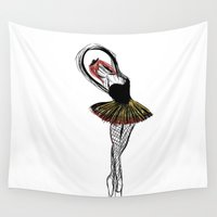ballerina Wall Tapestries featuring Ballerina by LouisaD