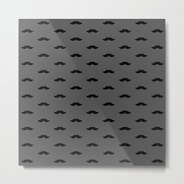 Black Mustache pattern on dark grey background Metal Print