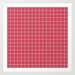 Brick red - pink color - White Lines Grid Pattern Art Print