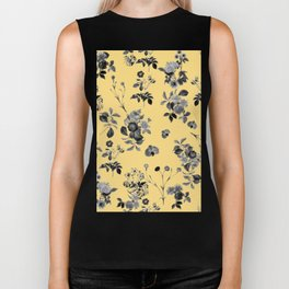 Black and White Floral on Yellow Biker Tank