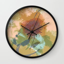 Autumnal Brushstrokes, Abstract Floral Art Wall Clock