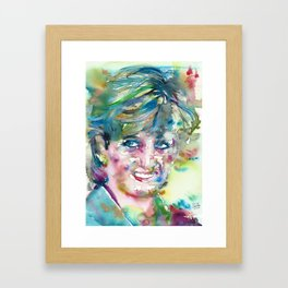 DIANA - PRINCESS OF WALES - watercolor portrait.4 Framed Art Print