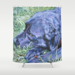Black Lab LABRADOR RETRIEVER dog portrait painting by L.A.Shepard fine art Shower Curtain