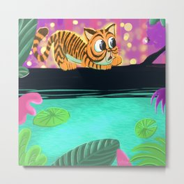 Tiger and firefly Metal Print