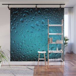 Stylish Cool Blue water drops Wall Mural