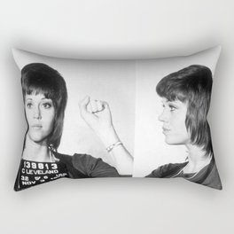 Jane Fonda Mug Shot Horizontal Rectangular Pillow
