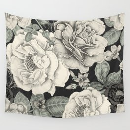CREAM FLOWERS ON BLACK Wall Tapestry