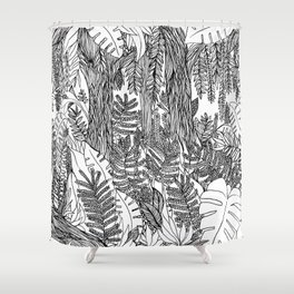 Zen junle, nature, botanical, black and white Shower Curtain