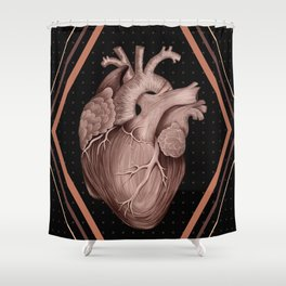 Anatomical Human Heart - Black and Old Rose Shower Curtain