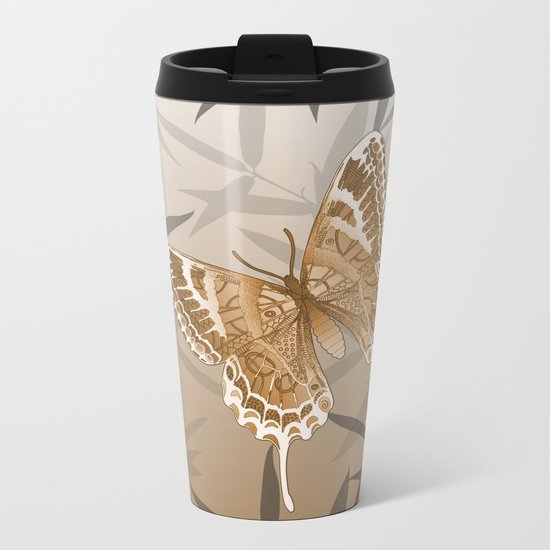 Beautiful Copper Butterfly Design Metal Travel Mug