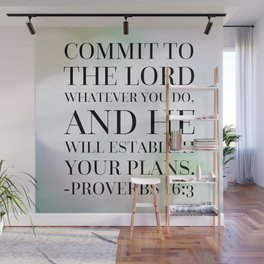 Proverbs 16:3 Bible Quote Wall Mural