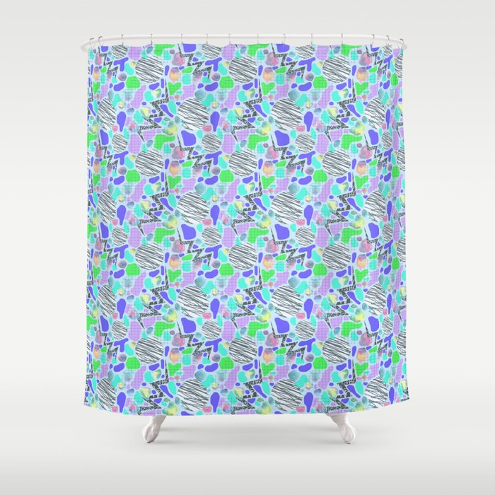 Electric Party Blues Shower Curtain