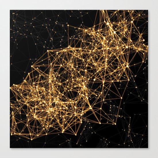 Shiny golden dots connected lines on black Canvas Print