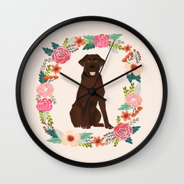 chocolate lab floral wreath flowers dog breed gifts labrador retriever Wall Clock