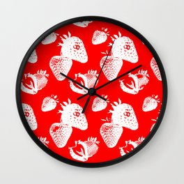 Strawberry Repeating Pattern Wall Clock