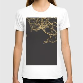 NAPLES ITALY GOLD ON BLACK CITY MAP T-shirt