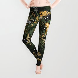 Animals in the glamorous nocturnal jungle Leggings