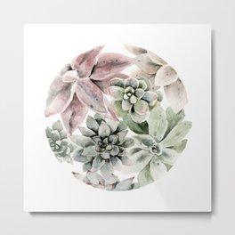 Circular Succulent Watercolor Metal Print