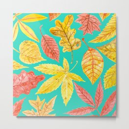 Autumn leaves watercolor teal Metal Print