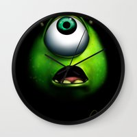 mike wrobel Wall Clocks featuring mike wazowski by Dan Solo Galleries