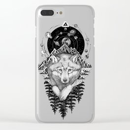 Space Wolf Clear iPhone Case