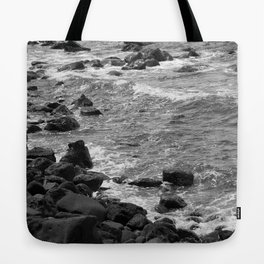 Rocky coastline, Black and White Tote Bag