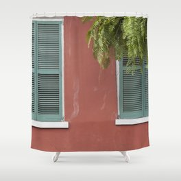 New Orleans Teal Shutters Shower Curtain