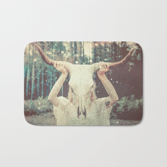Bull Skull Tribal Woman Bath Mat