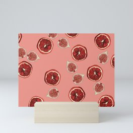 Pomegranate - Figs Pattern coral Mini Art Print