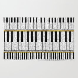 White Leather Piano Keys pattern with golden lines Rug