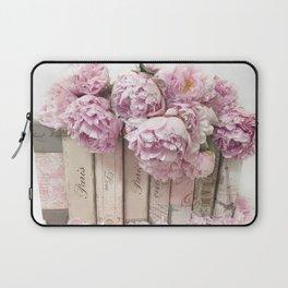 Shabby Chic Pink Peonies Paris Books Wall Art Print Home Decor Laptop Sleeve