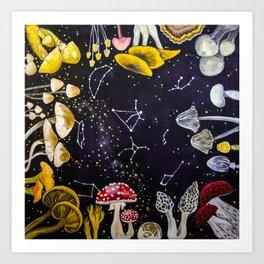 Mushrooms and Stars Art Print