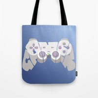 gamer Tote Bags featuring Gamer by pokegirl93