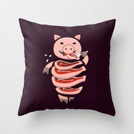 Gluttonous Cannibal Pig Throw Pillow