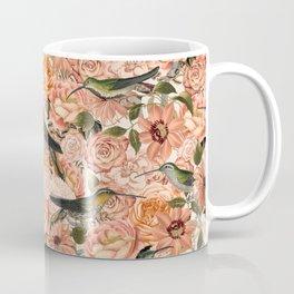 Nostalgic Flower And Hummingbird Pattern Coffee Mug