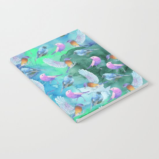 Birds in the sky- Bird animal pattern on aqua backround Notebook