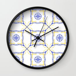 Azulejo Luso - Portuguese Tiles yellow Wall Clock