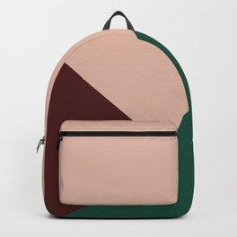 Burgundy and Green Geometric Backpack