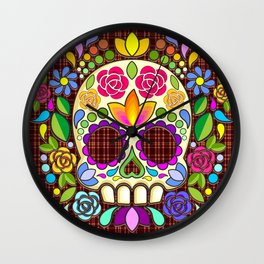 Sugar Skull Floral Naif Art Mexican Calaveras Wall Clock